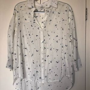 Madewell moon & star embroidered button down